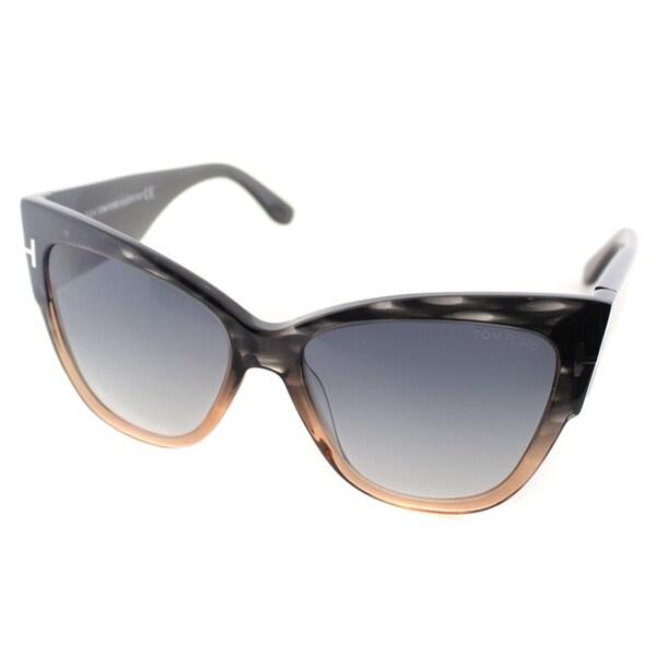 c268ab4fe3c6 Tom Ford Anoushka Womens TF 371 20B Melange Grey Peach Plastic Cat-Eye  Sunglasses