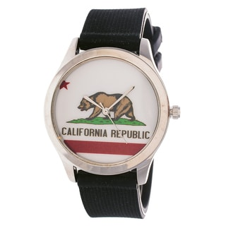 "California Republic Silver Case with Black Rubber Strap Men""s Ladies Watch"