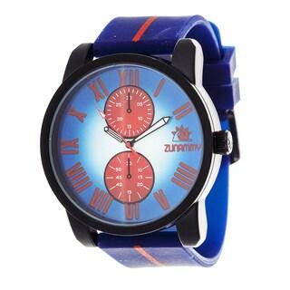 Zunammy Men's Matte Black Case with Blue and Red Strap Watch