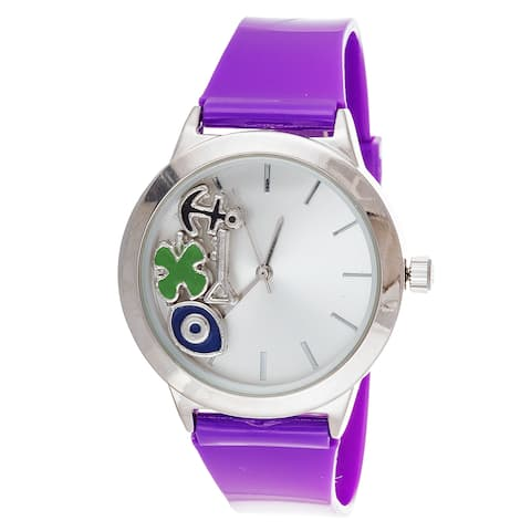 Fortune NYC Ladies Boyfriend Floating anchor, eye Silver Case with Purple Rubber Strap Watch
