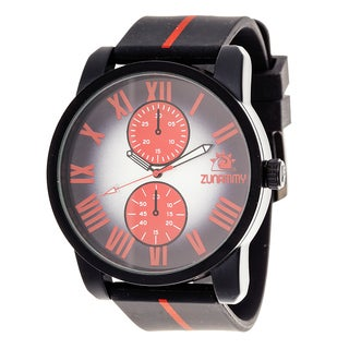 Zunammy Men's Matte Black Case with Black and Red Rubber Strap Watch