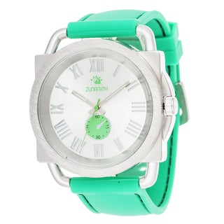 Zunammy Men's Jumbo Silver Case with Green Rubber Strap Square Watch