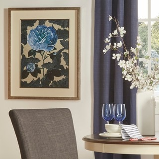 Indigo Deco Flower Matted Framed Giclee Print Wall Art with Glass