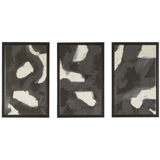 Geographical Abstraction Triptych Wrapped Giclee Print Canvas Framed Wall Art (Set of 3)