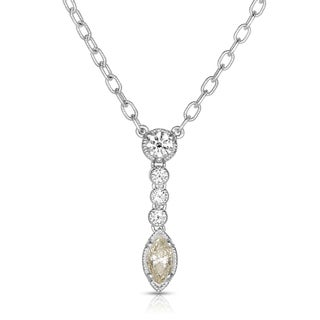 Eloquence 18k White Gold 1 1/5ct TDW Diamond Dangling Necklace (J-K, SI1-SI2)