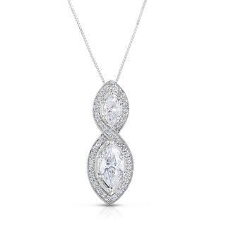 Eloquence 14k White Gold 2 1/10ct TDW Marquise Diamond Necklace (H-I, I1-I2)