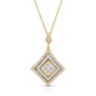 14k Two-tone Gold 3/5ct TDW Diamond Necklace (H-I, I1-I2)