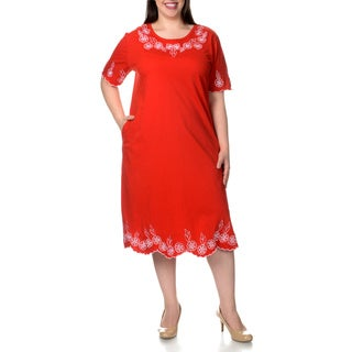 La Cera Women's Plus Size Short Sleeve Embroidered Dress