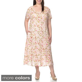 La Cera Women's Plus Size Floral Pint Casual Dress