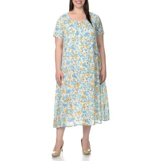 La Cera Women's Plus Size Floral Pint Short Sleeve Casual Dress