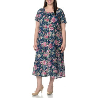 La Cera Women's Plus Size Floral Pint Short Sleeve Casual House Dress