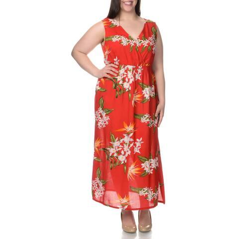 La Cera Women's Plus Size Sleeveless Floral Pint Casual Dress