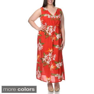 La Cera Women's Plus Size Sleeveless Floral Pint Casual Dress