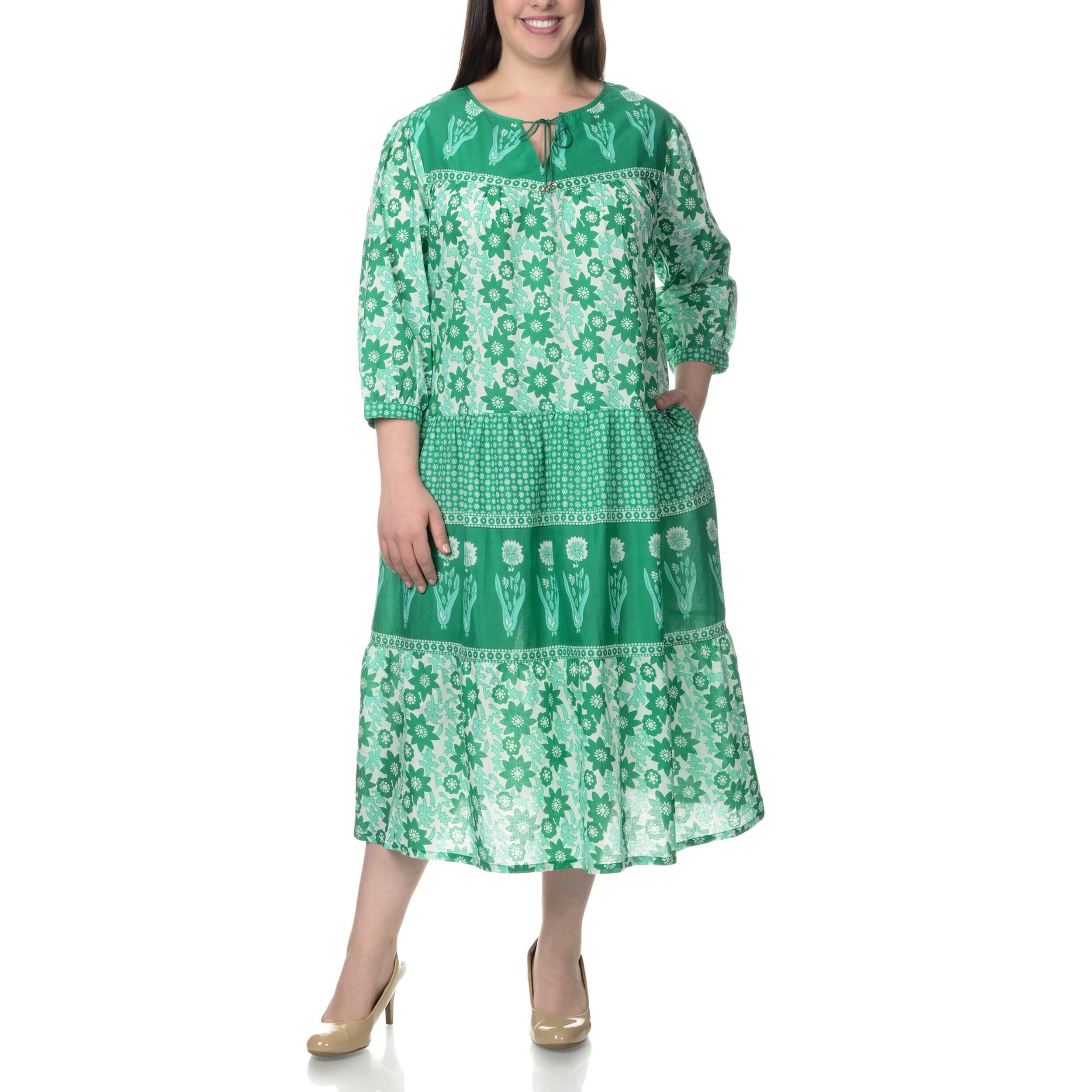 La Cera Womens Plus Size Novelty Floral Print 34 Length Sleeve