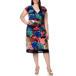 La Cera Women's Plus Size Floral Print Faux Wrap Dress