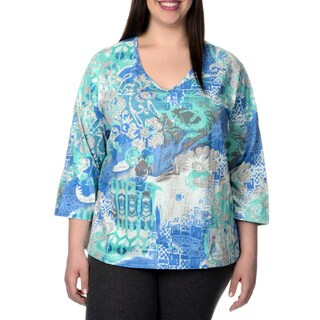 La Cera Women's Plus Size 3/4 Sleeved Novelty Print Shirt