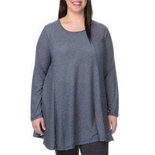 La Cera Women's Plus Size Thins Strip Long Sleeved Tunic