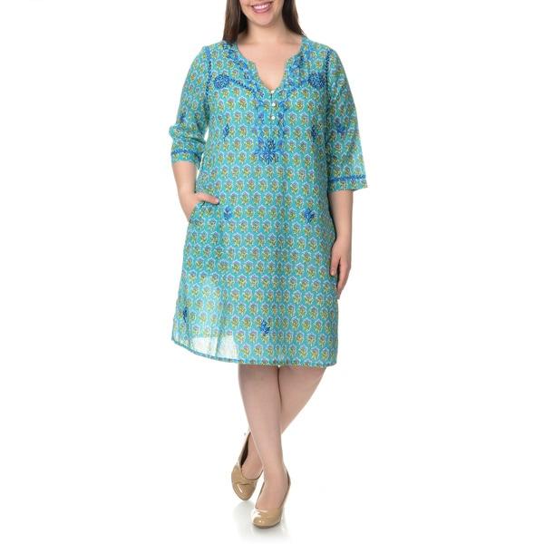 La Cera Women's Plus Size Embroidered Floral Print Caftan