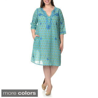 La Cera Women's Plus Size Embroidered Floral Print Caftan
