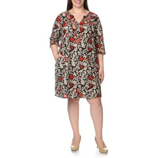 La Cera Women's Plus Size Embroidered Floral Print Black/Red Caftan