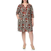 La Cera Women's Plus Size Embroidered Floral Print Black/Red Caftan