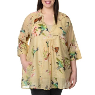 La Cera Women's Plus Size Hummingbird Floral Blouse
