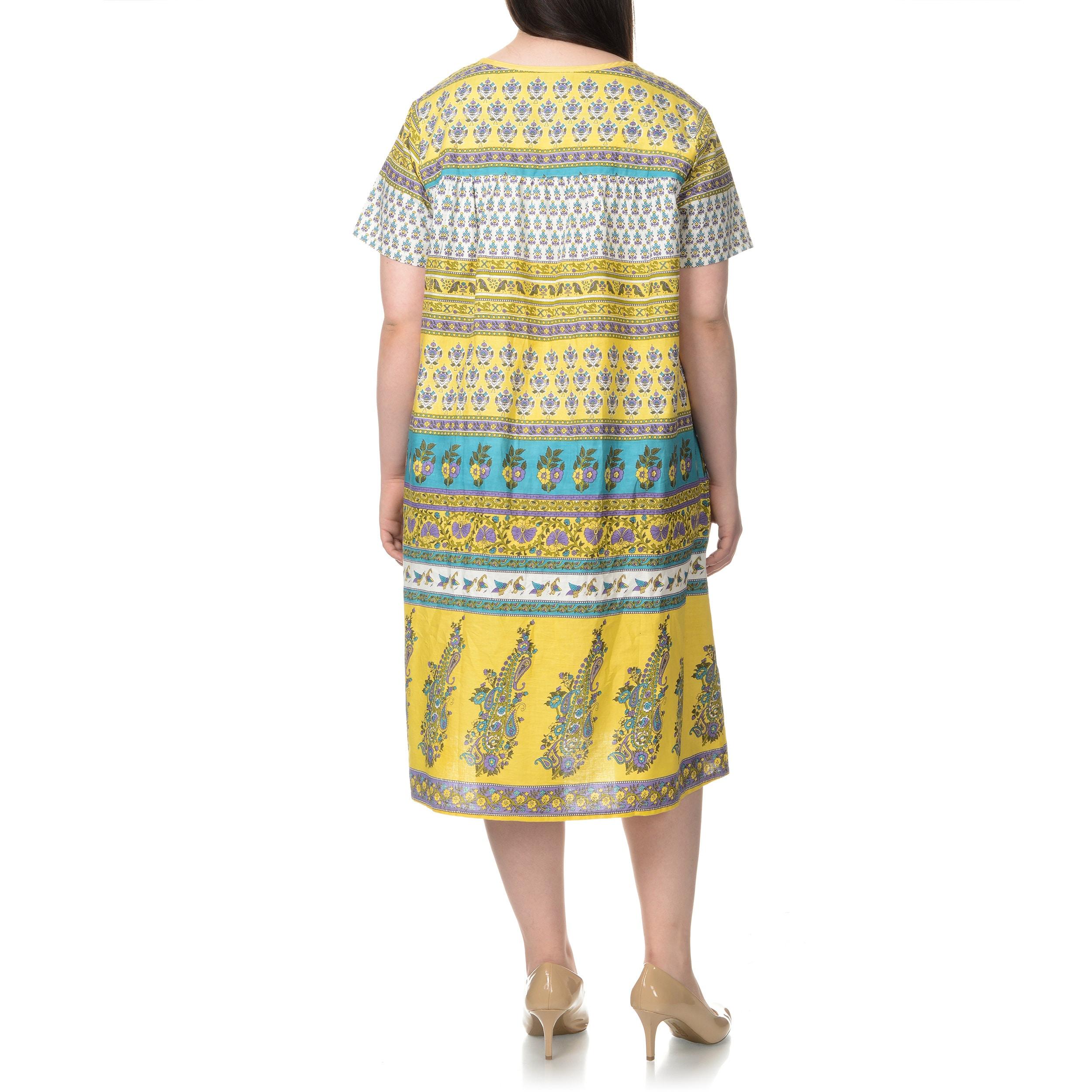 La Cera Women\'s Plus Size Multi- Novelty Print House Dress
