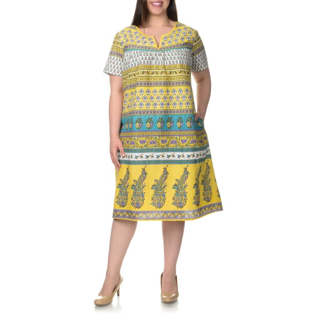 La Cera Womens Plus Size Multi- Novelty Print House Dress