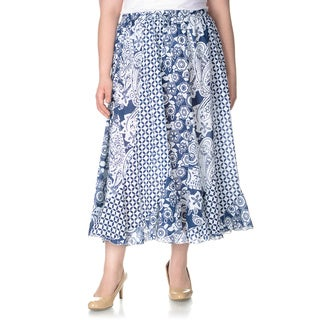 La Cera Women's Plus Size Novelty Print Full Length Skirt