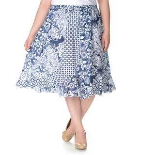 La Cera Women's Plus Size Novelty Print Skirt