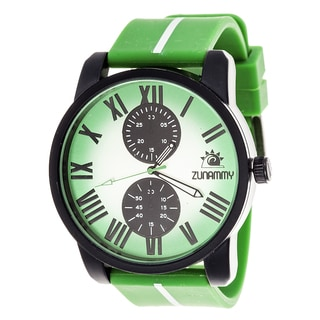 Zunammy Men's Matte Black Case with Green and White Rubber Strap Watch