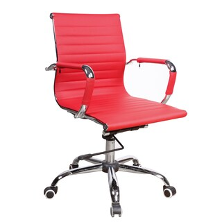 Somette Modern Red Upholstered Adjustable Office Chair
