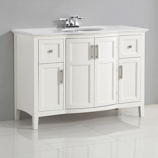 WYNDENHALL Salem White 4-door 48-inch Rounded Front Bath Vanity with and White Quartz Marble Top