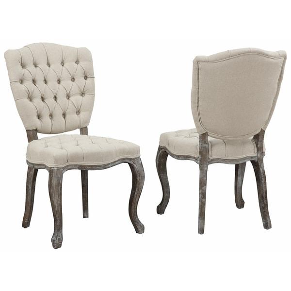 Amelia Beige Linen Weathered Oak Dining Chair Set of 2