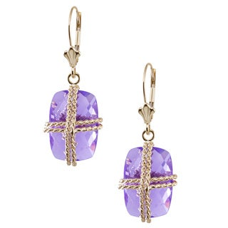 14k Yellow Gold Amethyst Wire Wrapping Rectangle Earrings