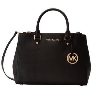 Michael Kors Sutton Medium Black Satchel Handbag