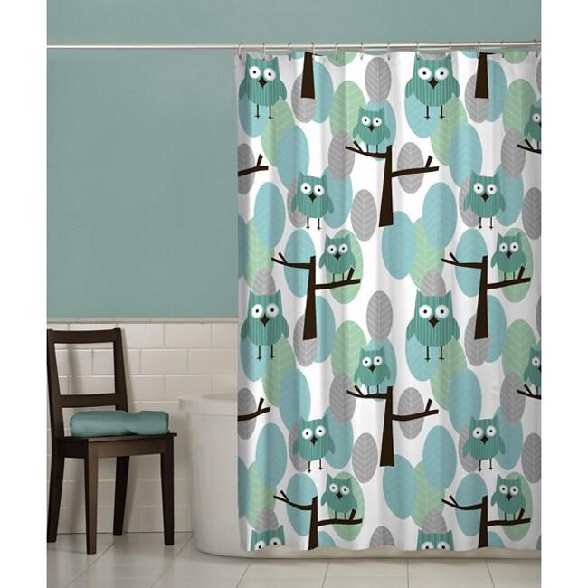 Maytex Owl Fabric Shower Curtain (Blue/ teal/ green) (Pol...