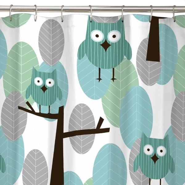 Maytex Owl Fabric Shower Curtain   Free Shipping On Orders Over $45    Overstock.com   17141243