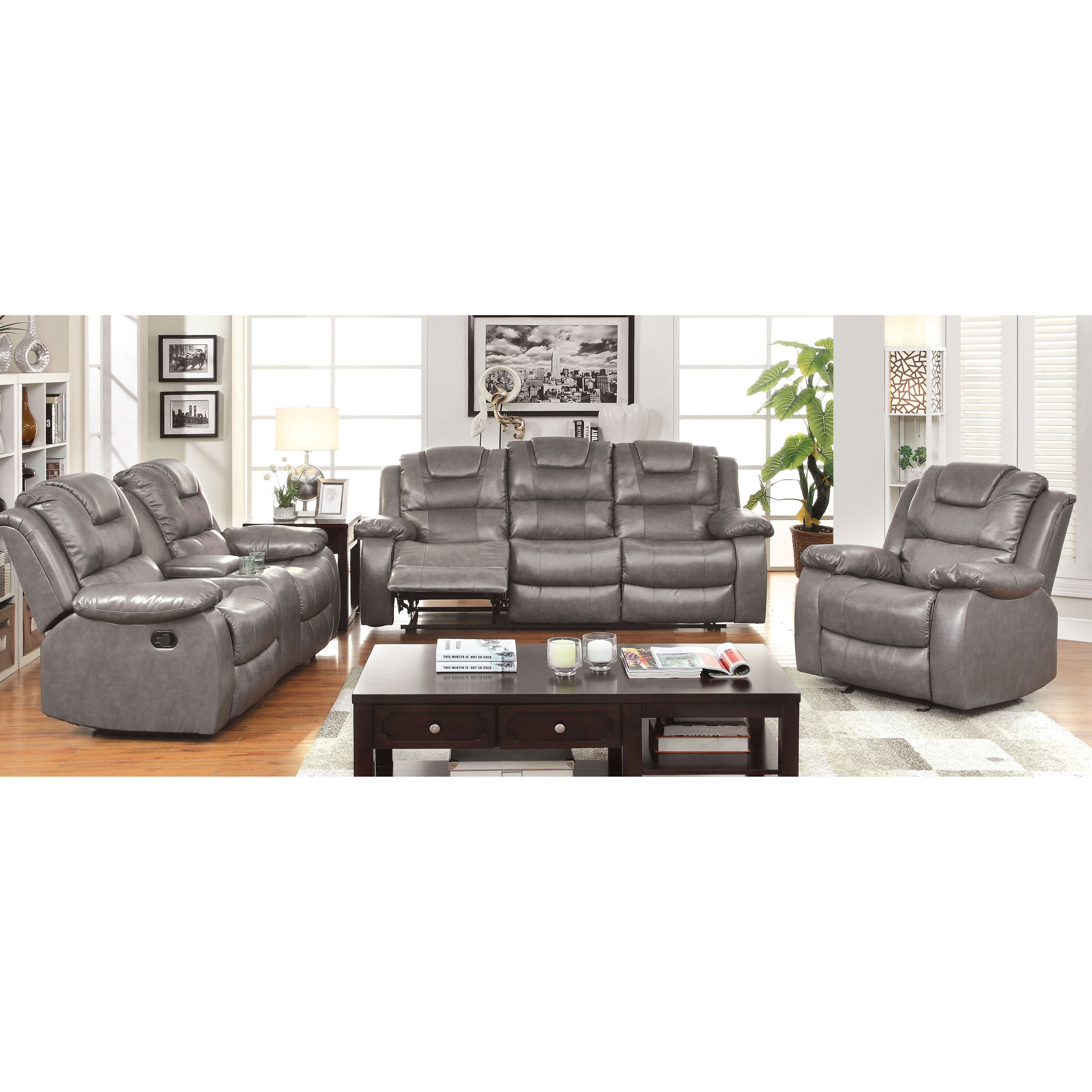 Amazing Embassy Modern Grey 3 Piece Convertible Reclining Sofa Set By Foa Andrewgaddart Wooden Chair Designs For Living Room Andrewgaddartcom