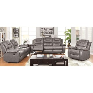 Furniture of America Embassy Convertible Duo-tone 3-Piece Reclining Sofa Set