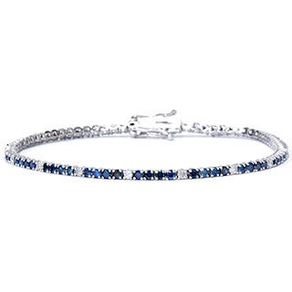 14k White Gold 2ct TDW Blue and White Diamond Tennis Bracelet (I-J/I2-I3)