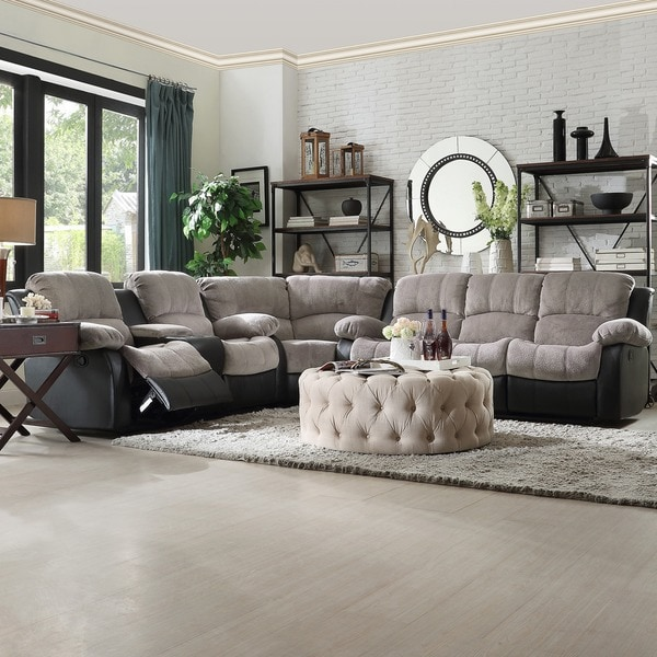 B751 Transitional Reclining Sectional With Storage Console: Shop TRIBECCA HOME Coleford Tufted Transitional Storage