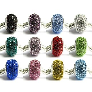 Queenberry Sterling Silver Birthstone Color Crystal Round Rondellle Bling European Bead Charm (More options available)