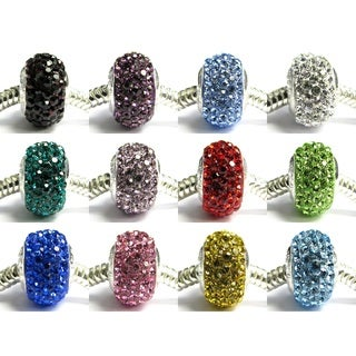 Queenberry Sterling Silver Birthstone Color Crystal Round Rondellle Bling European Bead Charm