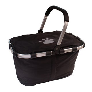 Petflect Picnic Cooler Basket with Silver Reflective Paw Print