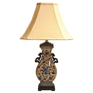 Crown Lighting Traditional 1-light Blue and White Handled Floral Square Table Lamp