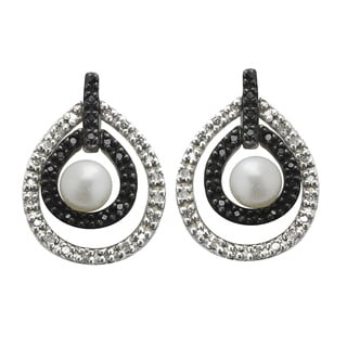 Pearls For You Sterling Silver FWP with Blk & Wht Diamond Earrings (4-4.5 mm) (H-I, I3)