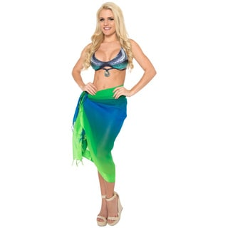 La Leela Blue/ Green Sheer Chiffon Jacquard Border Gradient Hawaiian Beach Sarong Cover-up Tunic Wrap