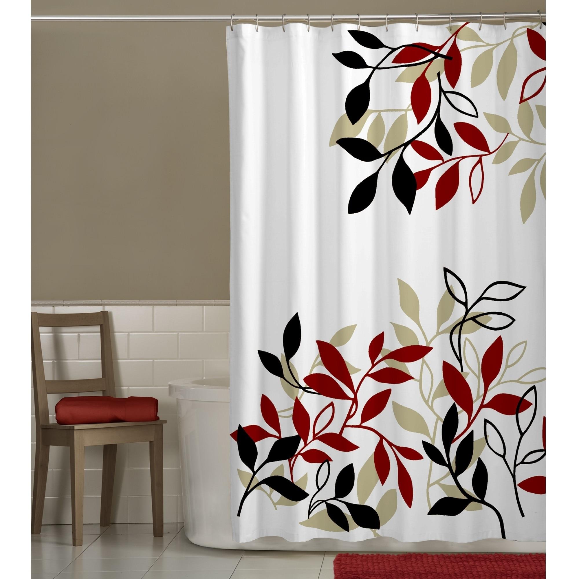 Maytex Satori Fabric Shower Curtain (Red leaf), Black (Po...