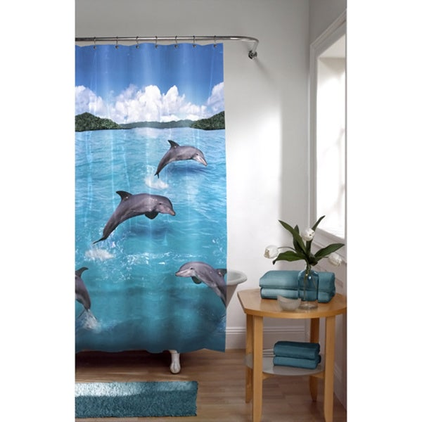 Maytex Splash Dolphin Photoreal Vinyl Shower Curtain